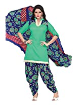 Kanheyas Cotton Printed Patiala Dress Material With Chiffon Dupatta