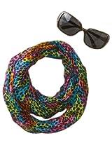 Accessories 22 Girls' Rainbow Cheetah Sunglass and Infinity Scarf Set, Multi, One Size