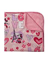 Disney Minnie Mouse Sherpa and Mink Flowers and Hearts Printed Blanket, Pink