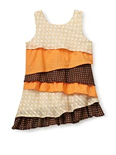 Beetlejuice Girl's 2T-6X Buttercream Asymmetrical Tiered Dress (Multi)