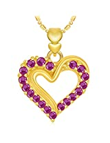 VK Jewels Well Designed Heart Valentine Gold and Rhodium Plated Pendant - P1909G [VKP1909G]