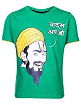 Ollypop T-Shirt Half Sleeves With Whats Up Bro Print In Hindi - Green