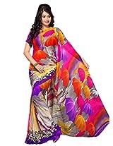 Yomeeto Georgette Fabric Multi Coloured Printed Saree