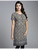 Cotton Ajrak Hem Border Mini Kurta-