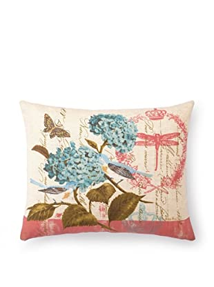 """Kathryn White Floral with Birds Pillow, Sky/Pink, 14"""" x 18"""""""