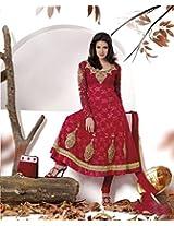 Rubby Red Semi Stitched Churidar Kameez Set