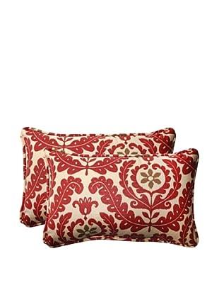 Set of 2 Outdoor Meridian Henna Rectangle Toss Pillows (Red/Brown/Tan)