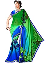 Shree Bahuchar Creation Women's Chiffon Saree(Skb29, Green and Blue)