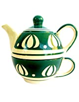 Awadhcrafts Ceramic Tea Pot and Cup (10 cms x 10 cms x 7.5 cms, 250 ml)