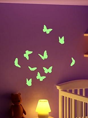 Ambiance Live Wandtattoo Butterflies set Fluorescent grün