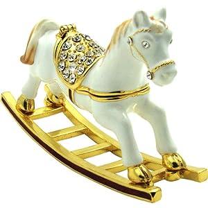 "Objet D'Art Release #430 ""Angelique The Rocking Horse"" Toy Horse Handmade Jeweled Metal & Enamel Trinket Box"