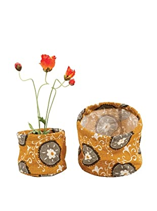 rockflowerpaper Set of 2 Jute Potted Plant Covers (Pumpkin)