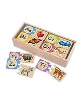 2 Item Bundle: Melissa & Doug 2541 Self-Correcting Alphabet Letter Puzzles + Free Activity Book