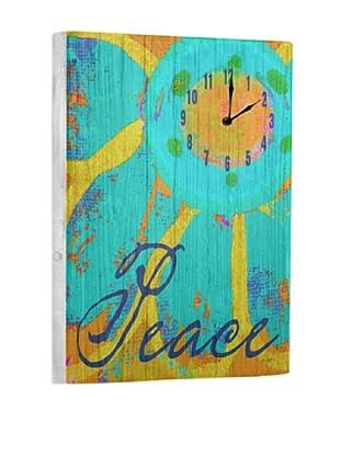 Peace Flower Reclaimed Wood Clock