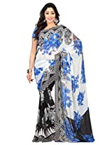 Admyrin Off-white Georgette Saree with Blue Blouse