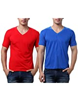 TeeMoods Pack of Two Men's V Neck Tshirts-Red n Blue_TM-C-1549RED-BLU-S