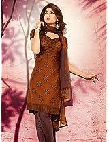 Crepe Printed Brown Unstitched Churidar Suit - PLNS1012