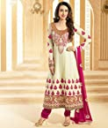 Valuze-Ravishing Karishma Kapoor Off White Umbrella Style Anarkali Suits