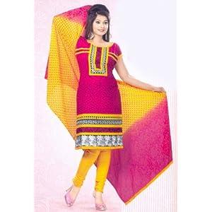 SGC- Pink embroidery Cotton unstitched Churidar kameez with Dupatta -SH-1053
