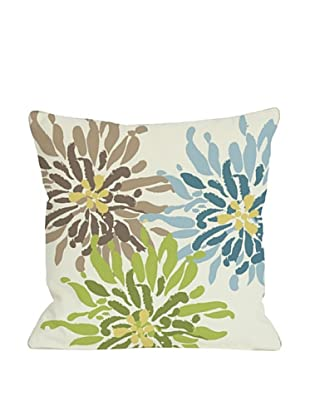 One Bella Casa Lowell Floral 18x18 Outdoor Throw Pillow (Ivory/Blue/Green)