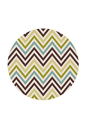 Universal Rugs Garden City Indoor/Outdoor Transitional Rug, Multi, 8' Round