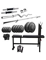 Dixon Men's Rubber & Steel 100 Kg Home Gym Set Standard Silver & Black - DGM 34