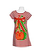 Chola Womens Cotton Nightwear ,White And Orange Stipes ,Free Size