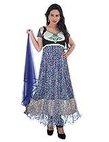 Diva Fusion Party/Festival wear Net semi-stitched Anarkali Dress material