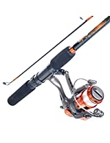 South Bend Worm Gear Fishing Rod and Spinning Reel Combo, Orange