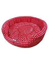Dog Bed Smart and Cozy in Red and White Check Design for Medium and Large Size Dog
