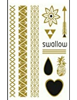 Metallic Gold Silver Black Jewelry Inspired Temporary Bling Tattoo by Eufouria Inc. YW-009