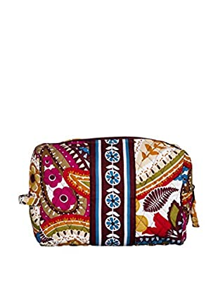 Home Essentials and Beyond Carolyn Large Cosmetic Bag, Yellow/Pink