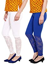 Softwear Womens Lace Leggings Pack of 2 ( White & Blue )