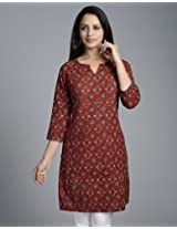 Cotton Ajrak Applique Mini Kurta-S-Red