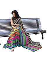 MultiColor Printed Georgette Saree with Border