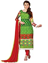 Vibes Women Georgette Salwar Suit Dress Material (V199-10 _Green _Free Size)