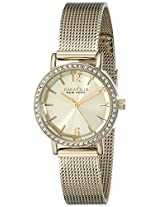 Caravelle by Bulova Crystal Analog Champagne Dial Women's Watch - 44L157