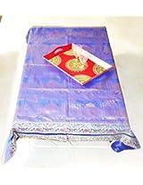 Taj Mahal Work Design Silk Table Cloth 57 X 67 Inches
