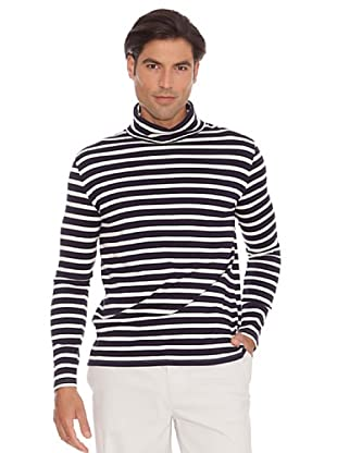Pedro Del Hierro Camiseta Rayas Cuello Cisne (Marino / Crudo)