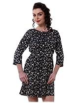 Purys Women's Blouson Dress (RD5007_Black White_S)