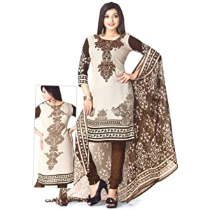 SGC- Brown Synthetic unstitched churidar kameez with dupatta -M-4167