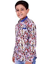 OK's Boys Adoring Blue Casual Satin Shirt For Boys | OKS2531BLU