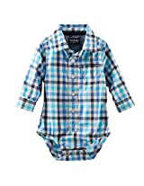 Oshkosh Boys Blue Plaid Long Sleeve Button Down Bodysuit
