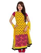 3Pce Suit - Stunning Yellow Cotton Printed Kurta, Chudi and Cotton Dupatta