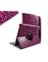 SANOXY 360 Degree Rotating Stand PU Leather Case Cover with Auto Sleep / Wake Feature for iPad 2/3/4 (LEOPARD HOT PINK)
