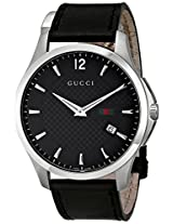 "Gucci Men's YA126304 ""G-Timeless"" Black Diamond Pattern Dial Watch"