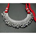 Red antique finish German silver Metal Oxidised Silver Traditional Necklace Set