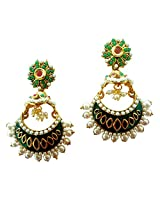 Lalso Royal Designer Bollywood Style Ruby Green Jhumka Pearl Earrings For Wedding, Diwali, Festival, Navratri, Party, Gift - LAE56_MG