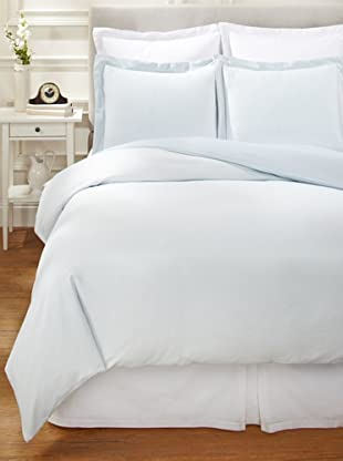 Nine Space Viscose from Bamboo/Cotton-Blend Stripes Duvet Cover Set (Frost Blue)
