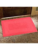 Avira Home 900 GSM Greek Design Terry Mat-Bathmat-Floor Mat-Door Mat-100% Cotton-Pink